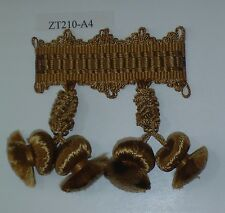 Onion Tassel Fringe Antique Gold match Bullion Fringe Beaded Fringe (ZT210-A4)
