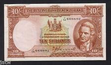 New listing New Zealand P-158a. (1940-55) Ten Shillings - Hanna. Prefix 1/54. gVf