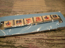 BRACELET - METAL- STRETCH- PAPER TABS - STARS & USA - NEW SEALED - ON SALE!