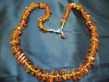 Cognac BALTIC AMBER nuggets knotted silk Boho NECKLACE 925 Sterling Silver clasp