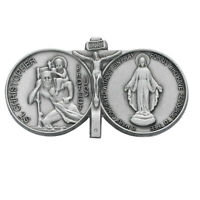 Visor Clip St Christopher and Miraculous Medal Pewter Vintage Car Catholic