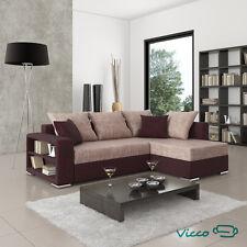 Vicco Sofa Couch Polsterecke Houston Schlafsofa Ecksofa Doppelbett braun-cappu.
