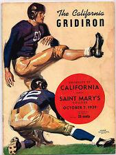 1939  ST MARYS vs CALIFORNIA  Football Program NCAA