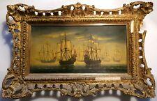 Framed Antique Vintage Oil Painting Ship Boat Sea Landscape