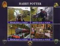 Chad 2018 MNH Harry Potter Hogwarts Express 4v M/S II Trains Movies Film Stamps