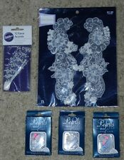 5 pkg Lot-Appliques, Lace & Pearls Trimmings: Wedding, Bridal Dress White - NEW