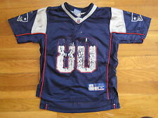 Troy Brown 80 New England Patriots navy blue Reebok JERSEY t shirt vtg kid M 5 6