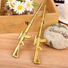 Chic Mini Gold Rifle Shape Men Black Ink Ballpoint Pen Writing Instrument CA