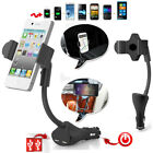 Dual USB Charger Car Mount Gooseneck Holder for iPhone Samsung etc Cell Phones