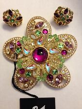 Swarovski Large Floral Flower Pin Brooch & Earrings Signed - Gorgeous! - NWT