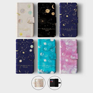 Tirita Personalised Wallet Flip Case for Samsung S10 S9 S8 Planets Space Moon