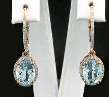 4Ct Oval Cut Aquamarine Diamond Drop/Dangle Earrings Solid 18K Yellow Gold Over