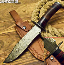 LOUIS MARTIN RARE CUSTOM HANDMADE DAMASCUS ART HUNTING BOWIE KNIFE WALNUT WOOD
