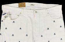 Men's POLO RALPH LAUREN White Jeans Skull Crossbones Tag = 42x32 42Bx32 BIG NWT