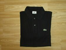 Mens LACOSTE 5 L Large Black Button Up Short Sleeve Polo Top T-Shirt VGC!