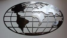 "Metal Art World Map 36"" wide Polished steel silver metal wall art"
