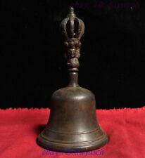 "7"" Old Tibetan Buddhism Bronze Buddha head Statue Exorcism Vajra Bell chung FaQi"