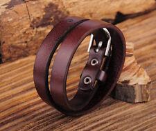Surfer Plain Cool Double Wrap Men's Punk Leather Bracelet Wristband Cuff Brown