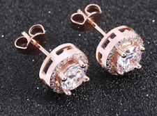 18k Rose Gold Plated Halo Round Crystal/Cubic Zirconia Diamanté Stud Earrings-UK