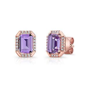 14k Rose Gold Emerald Amethyst Diamond Octagon Stud Earrings Natural 1.69 TCW