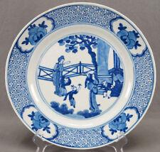 "Beautiful Kangxi Chinese Blue & White Women & Children 10 3/4 "" Plate Circa 1700"