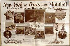 CHARLES LINDBERGH New York to Paris,  Mobil Oil Poster, 1927