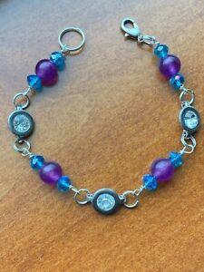 "Handmade sterling Silver Plated Bracelet Purple Blue Glass Rhinestone 7.5 """