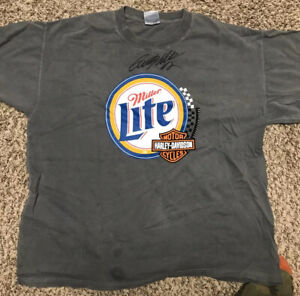 Rusty Wallace Autographed T-Shirt | Miller Lite; Harley Davidson