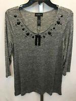 Women's Karen Brooks Gray 3/4 Sleeve Embellished Blouse Stretch Shirt Small New