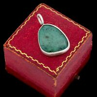 Antique Vintage Deco Sterling Silver Chinese Aventurine Necklace Pendant 5.8g