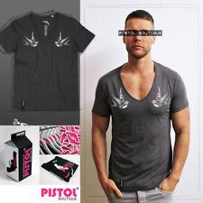 Pistol Boutique mens Charcoal Deep V neck Tattoo swallow bird fashion t-shirt