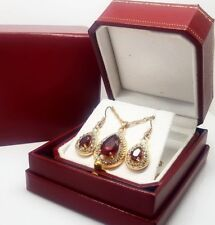 Yellow gold finish pearcut Ruby & created diamond pendant necklace and earrings