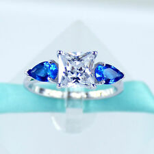 925 Sterling Silver 2Ct Princes Diamond & 2 Blue Sapphire 3 Stone Wedding Ring