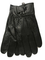 MEN'S NEW SOFT REAL LEATHER FLEECE LINED WARM WINTER GLOVES WITH BUTTON FASTENER
