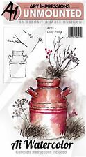Clay Pot, Watercolor Unmounted Rubber Stamp Set ART IMPRESSIONS - NEW, 4701