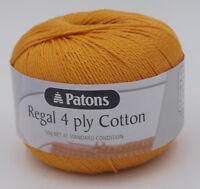 Patons Regal 4 ply Cotton (%100) x 2 ~ 50g  Knit & Crochet #  4442 Tangerine
