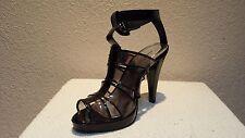Anne Michelle synthetic medium black patent sandal shoes 9