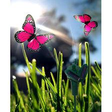 HQRP 2 Mariposas decorativas solares rosadas, para jardín, plantas exteriores
