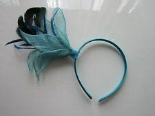 FASCINATOR | Turquoise | Sinamay | Feathers | Hairband | Wedding (60A)