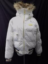 BABY PHAT Womens HOODED Coat JACKET DOWN Filled Puffer WHITE FUR Trim SZ L