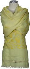 Schal hand bestickt hand embroidered 100% Wolle, wool scarf Kashmir Gelb Yellow