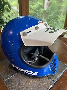 """Vintage 1975 Bell Moto 3 Star III Full face Helmet Blue & White Sz 7 1/8"""" Visor"""