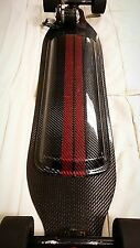 Electric Skateboard Carbon Fiber Battery Enclosure with Racing Stripes.