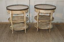 Cassard Romano French Provincial Marble Top End Table/Night Stands Tables Pair