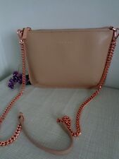 BNWT Ted Baker Taupe Lilac Becklia Small Zip Top Cross Body Bag