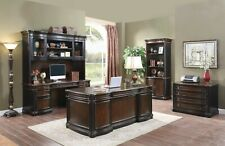 3 Pc Espresso & Chestnut Executive Office Desk Credenza & Hutch Furniture Sale