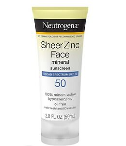 Neutrogena Sheer Zinc Face Mineral Sunscreen Broad Spectrum SPF 50 2 FL. Oz.