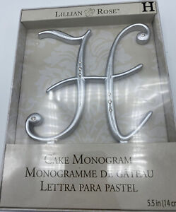 "NIB Lillian Rose Cake Topper Monogram H 5.5"" Silver Rhinestone Wedding"