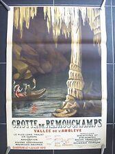 belle affiche ancienne 1912 grotte Remouchamps Amblève spéléologie speleology