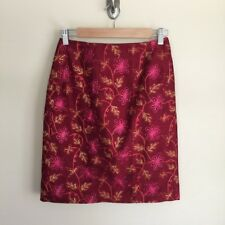 Muse burgundy floral embroidered silk pencil straight skirt sz 2